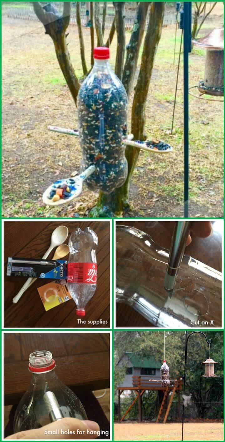 repurposed soda bottle bird feeder