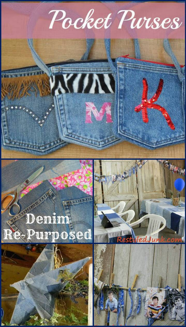 reclaimed denim graduation party decors