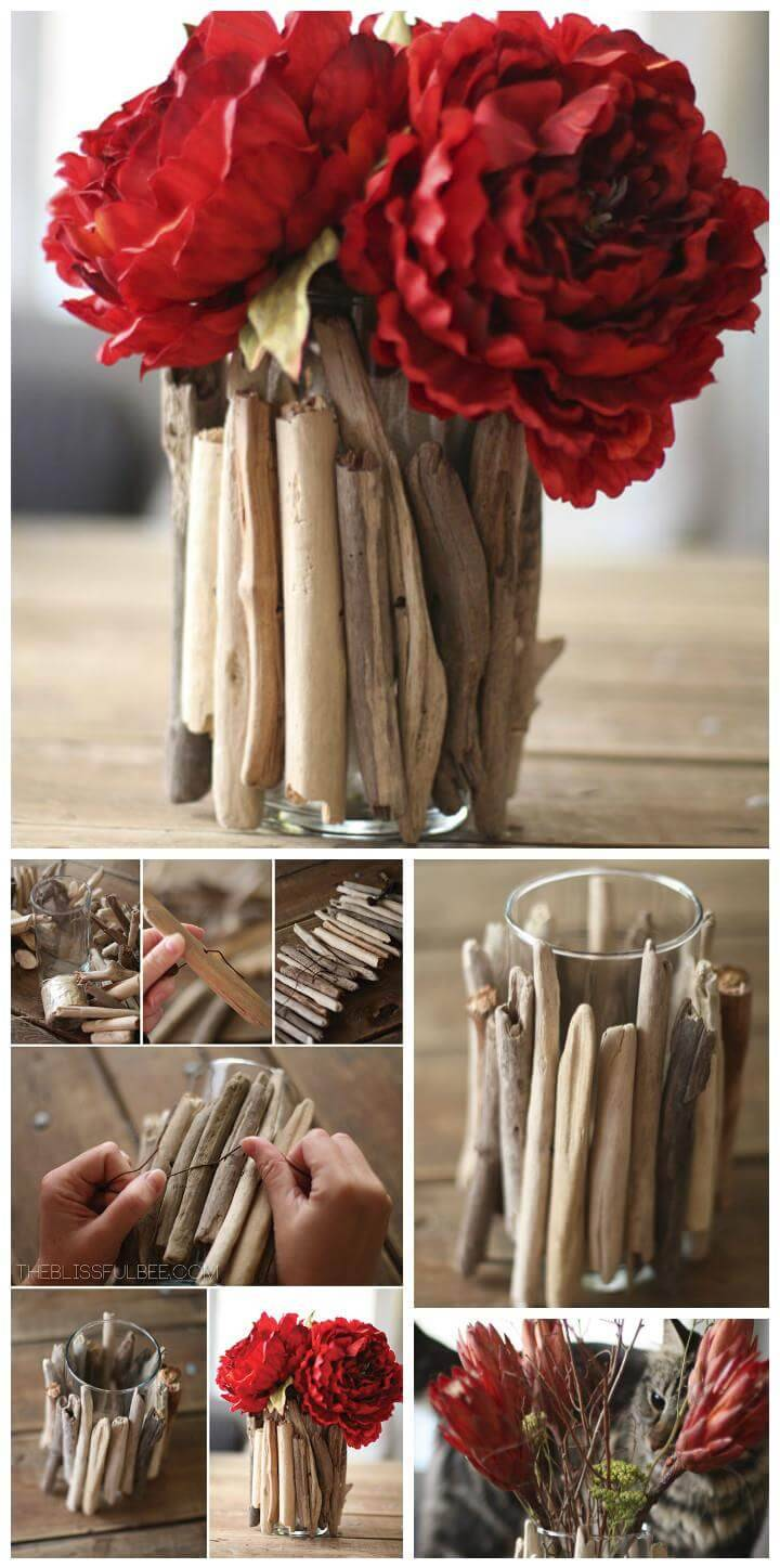 reclaimed rustic driftwood vase
