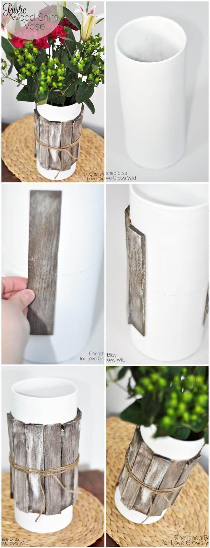 rustic wood shim vase