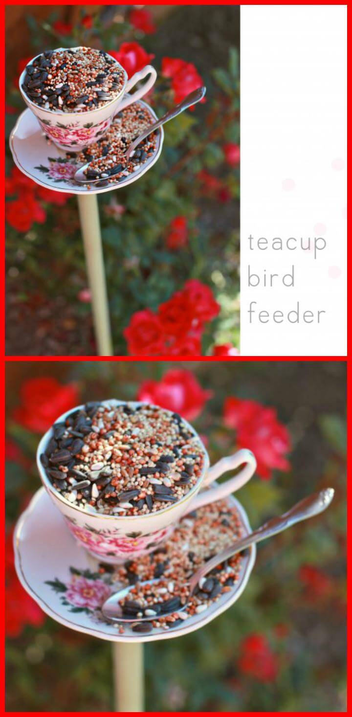 repurposed tea cup bird feeder