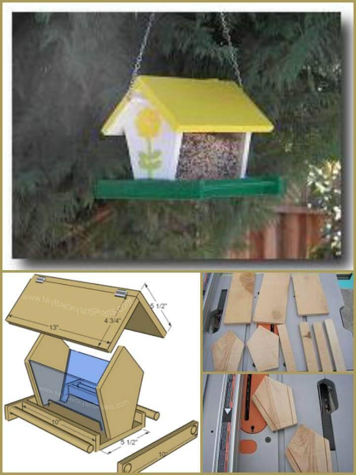 hand-built wooden bird feeder