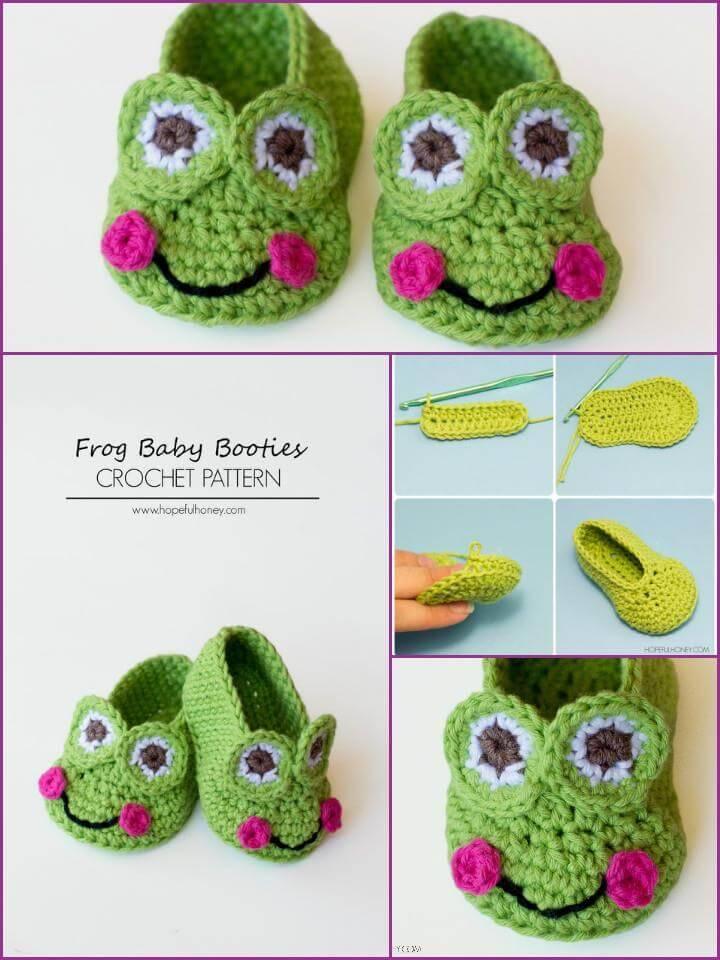 free crochet baby frog booties pattern