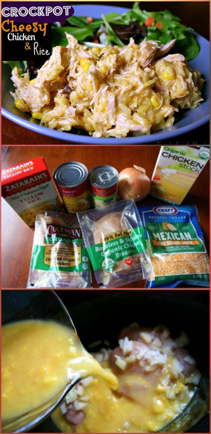 delicious crockpot cheesy chicken and rice recipe