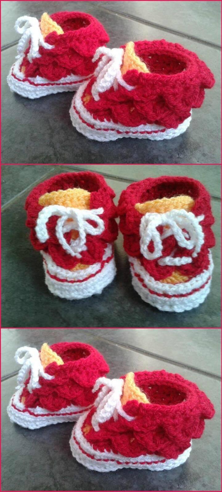 crochet crocodile stitch high top baby shoes
