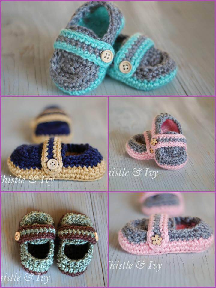easy crochet monk strap baby booties