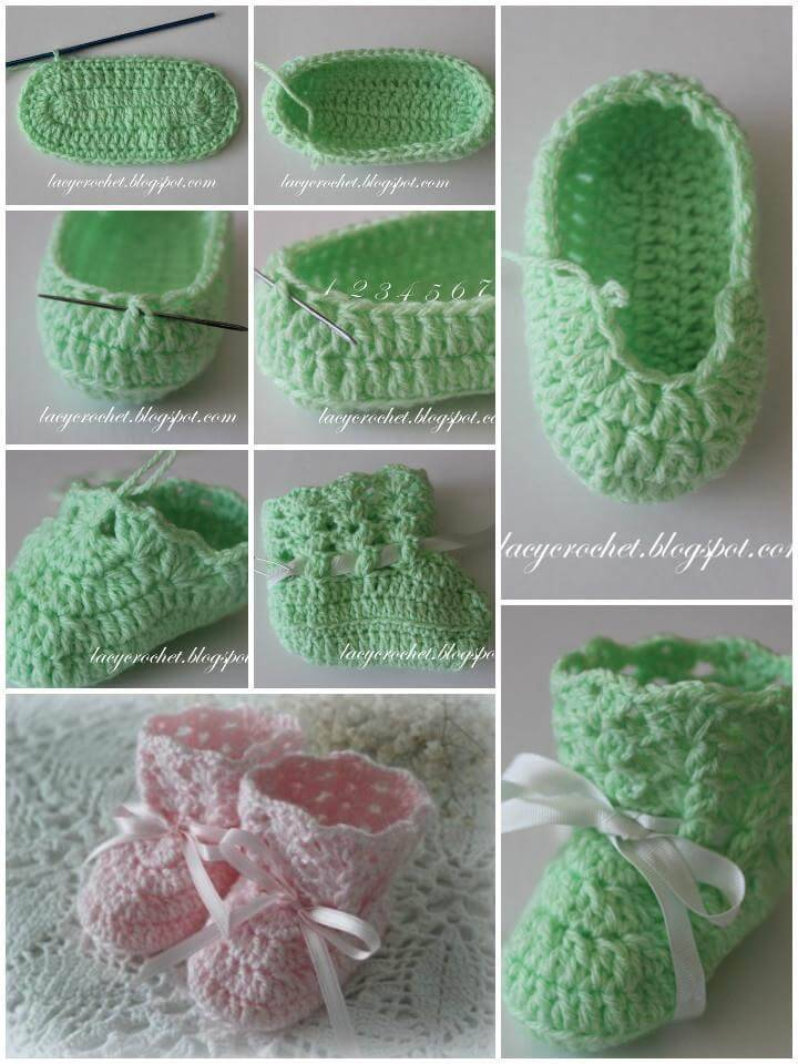 free crochet lacy baby booties pattern