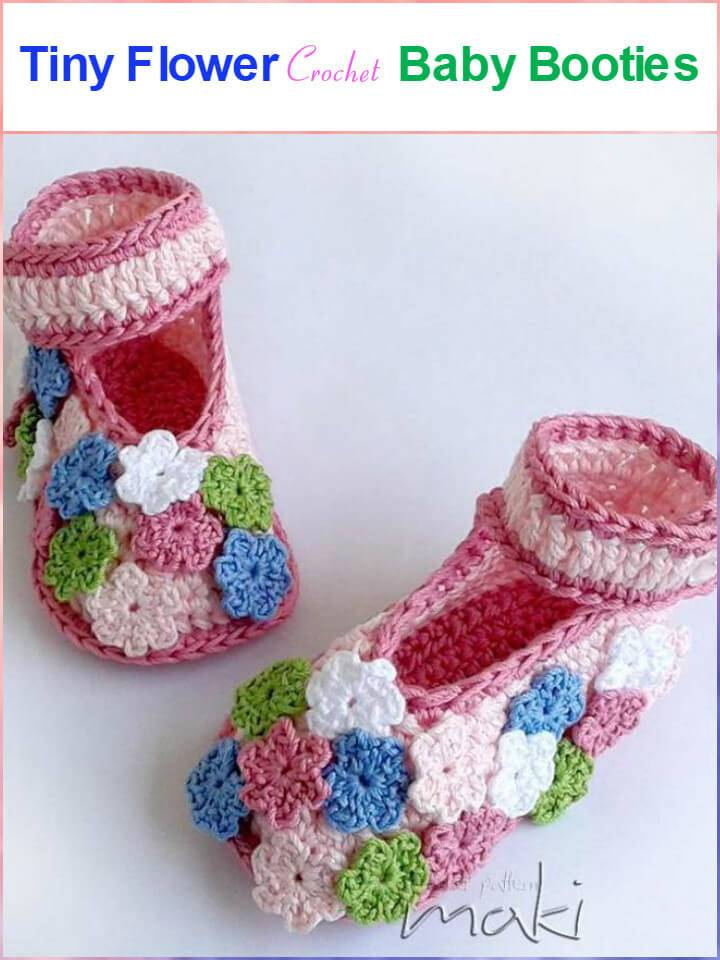 tiny flower crochet baby booties