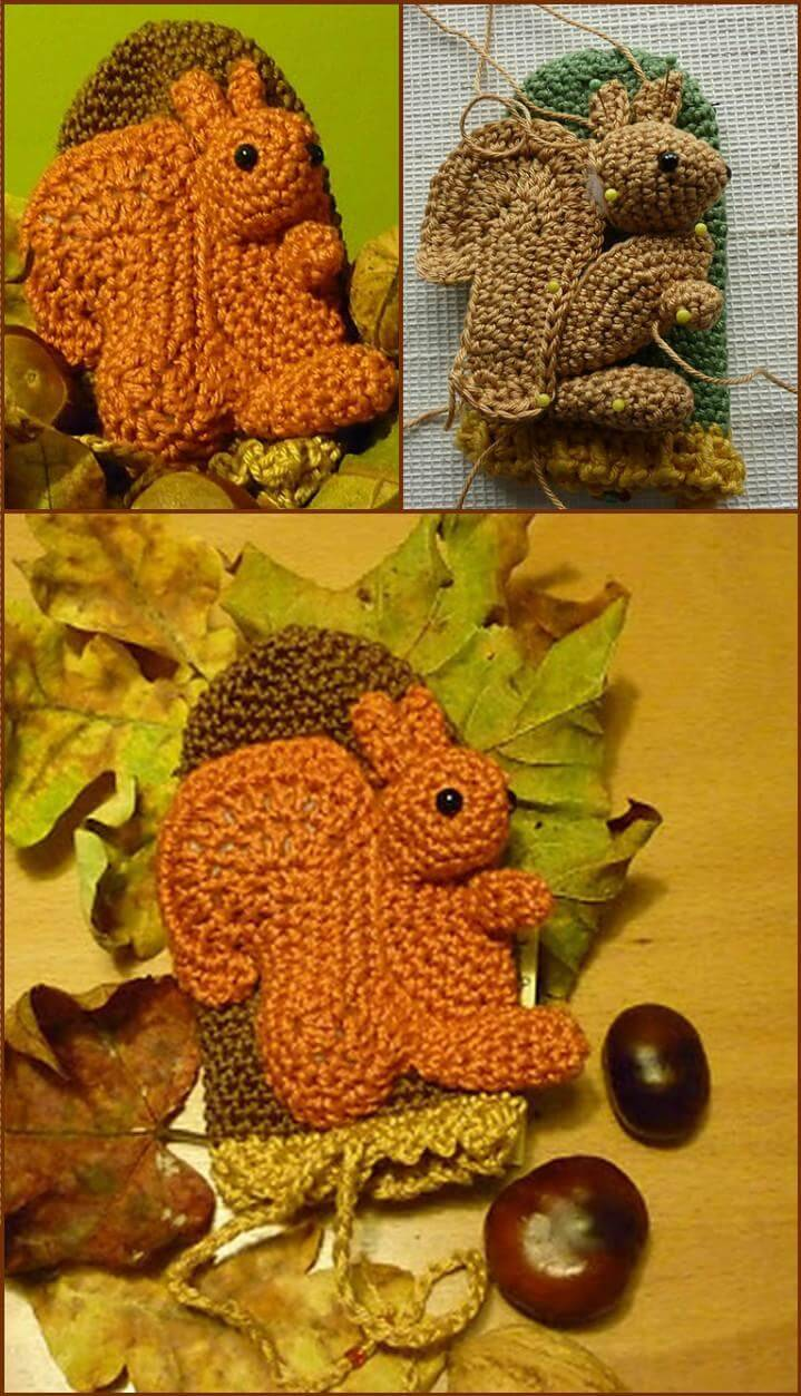 unique crochet phone squirrel cozy