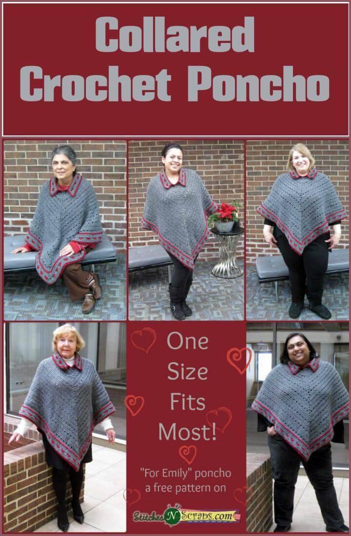 crochet collared poncho