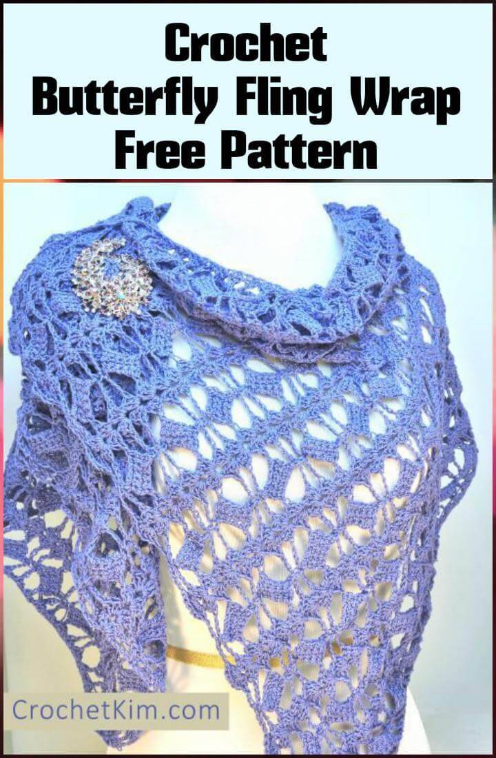 free crochet butterfly fling wrap pattern