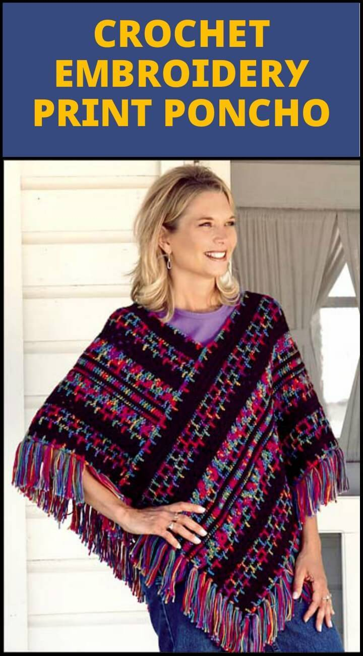 exclusive crochet embroidery print poncho