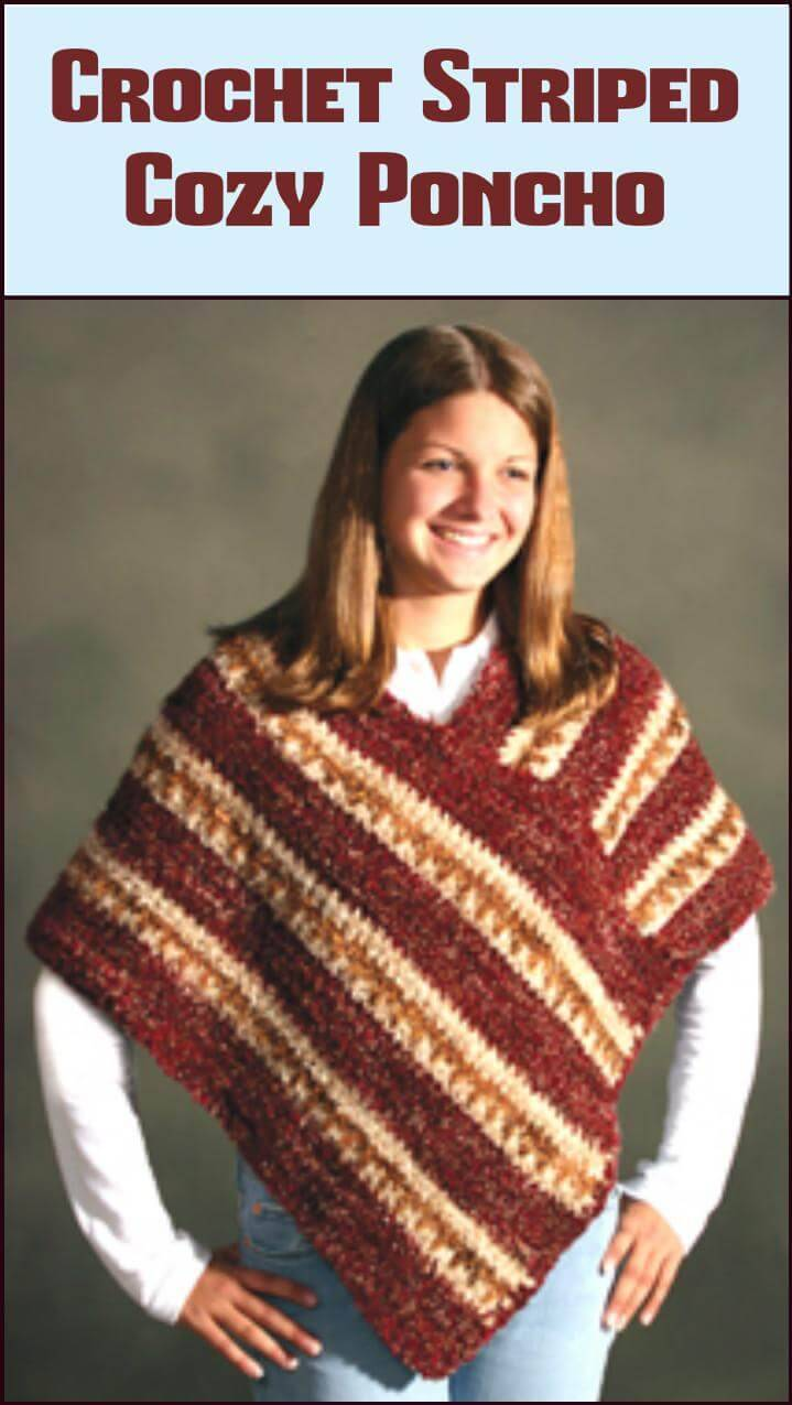 free crochet striped cozy poncho pattern