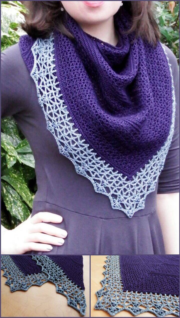 free crochet Atlantic lace shawl