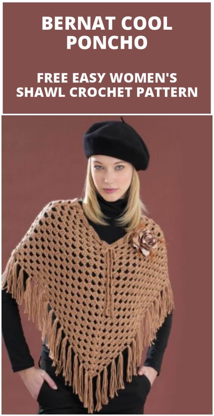 free crochet bernat cool poncho