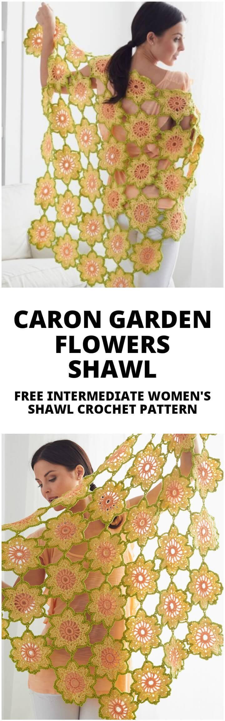 free crochet caron garden flowers shawl