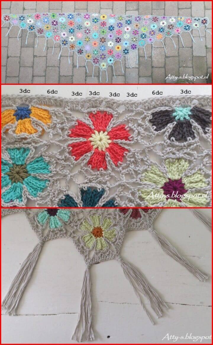 free crochet catona flower shawl