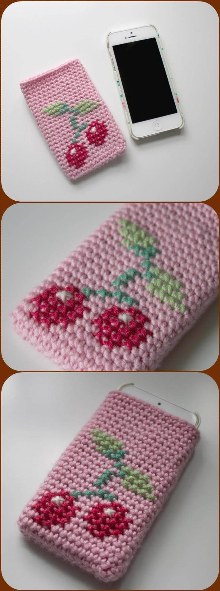 easy crochet cherry phone case