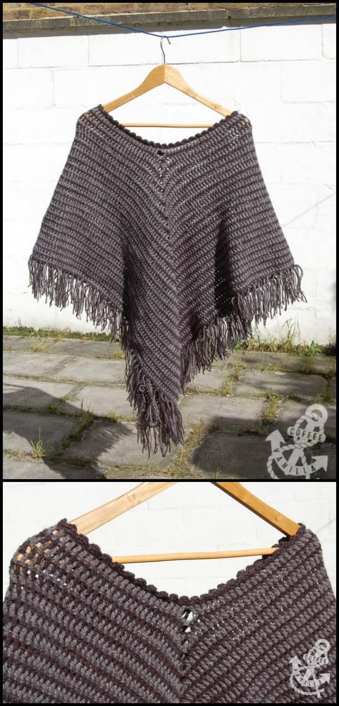 crochet classic poncho free pattern