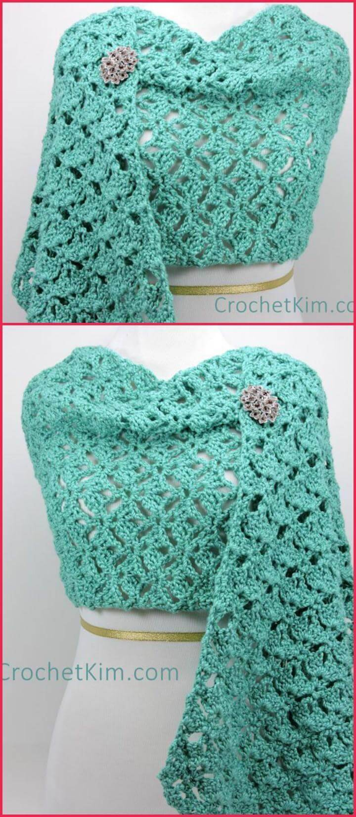 free crochet emerald lace fling wrap