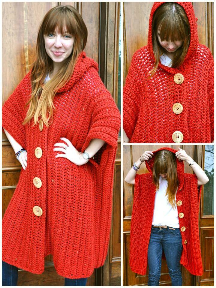 free crochet hooded poncho pattern