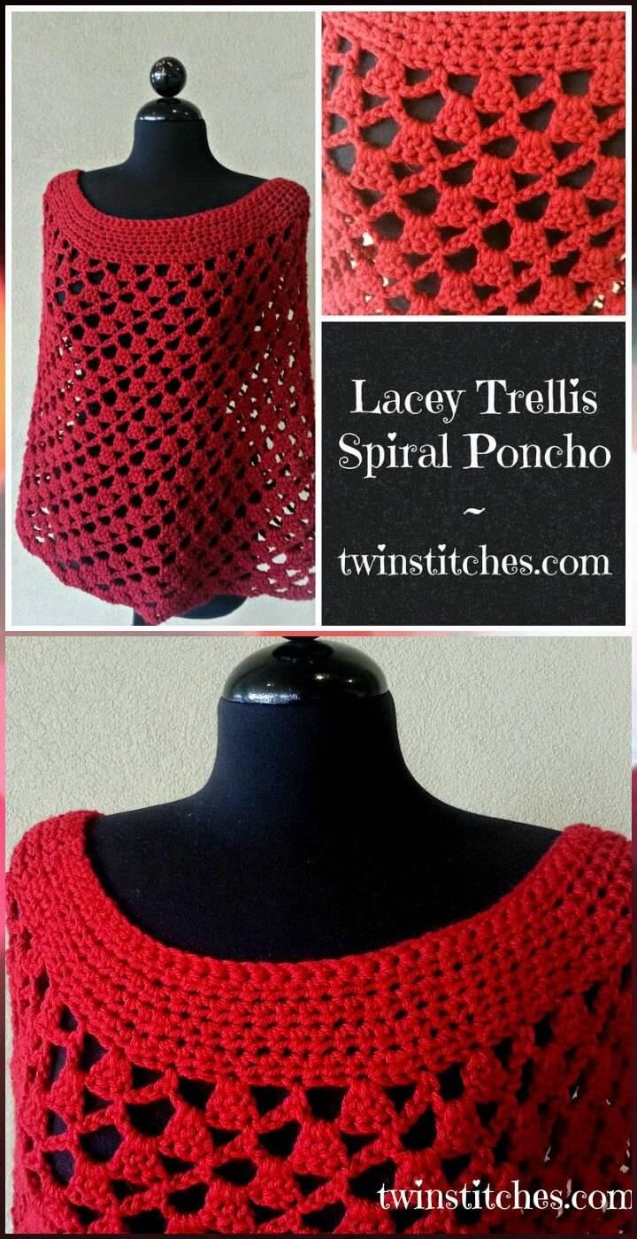 free crochet lacey spiral trellis poncho