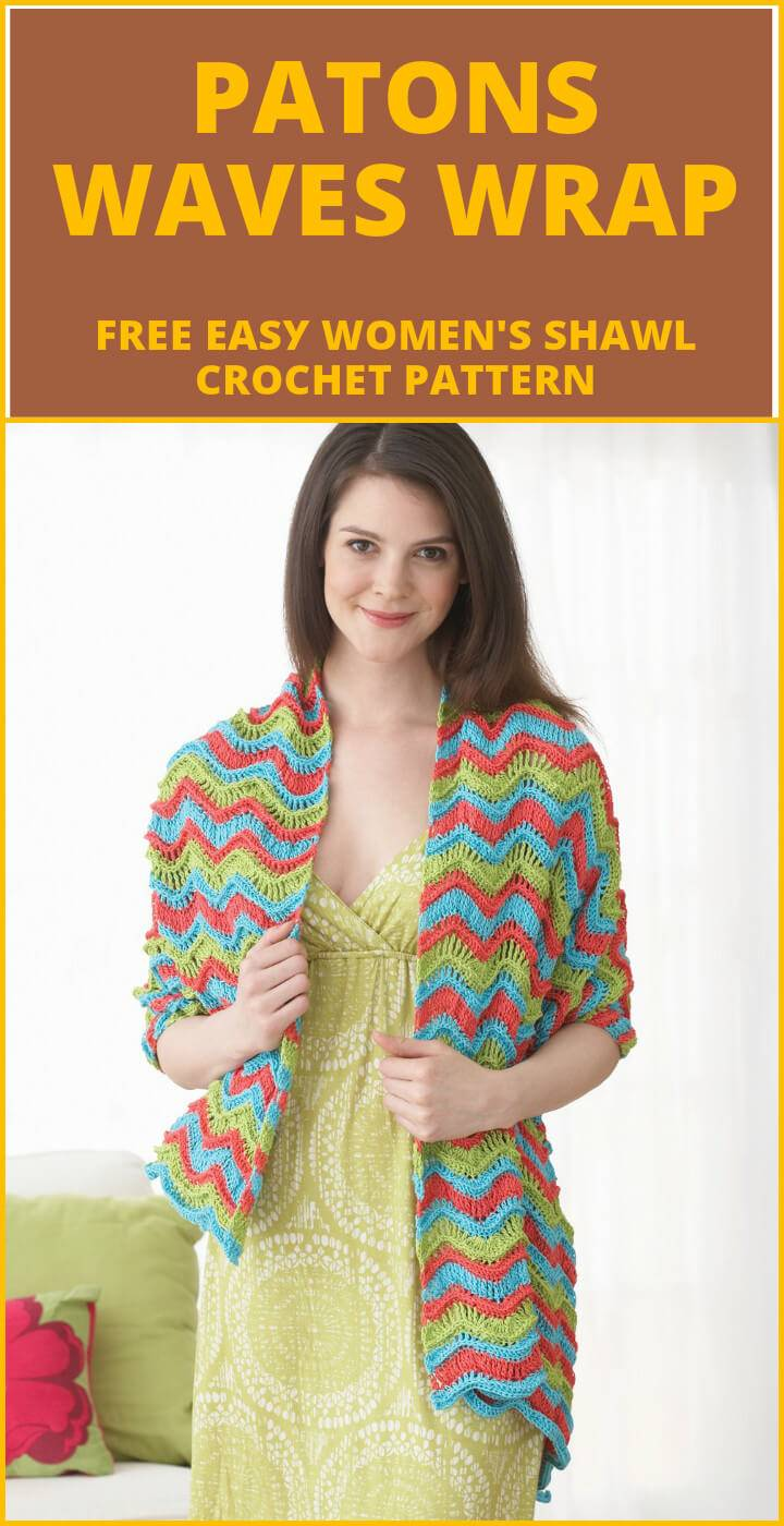 free crochet patons waves wrap or shawl