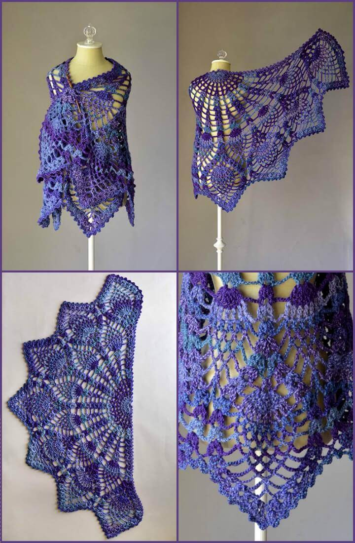 free crochet pineapple peacock shawl