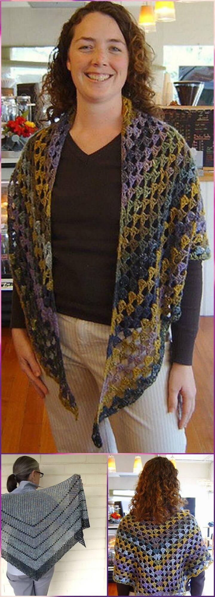 free crochet sezession I granny style shawl