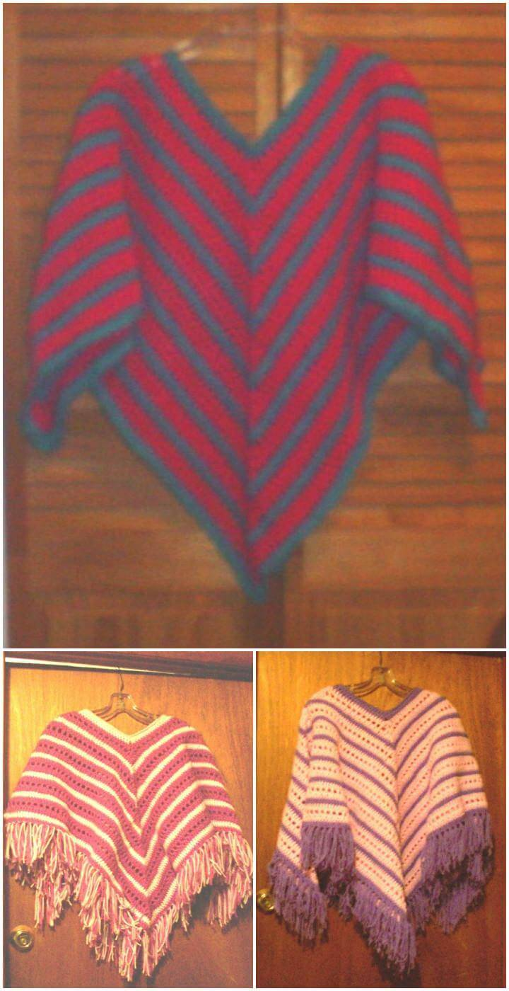 free crochet striped child's poncho