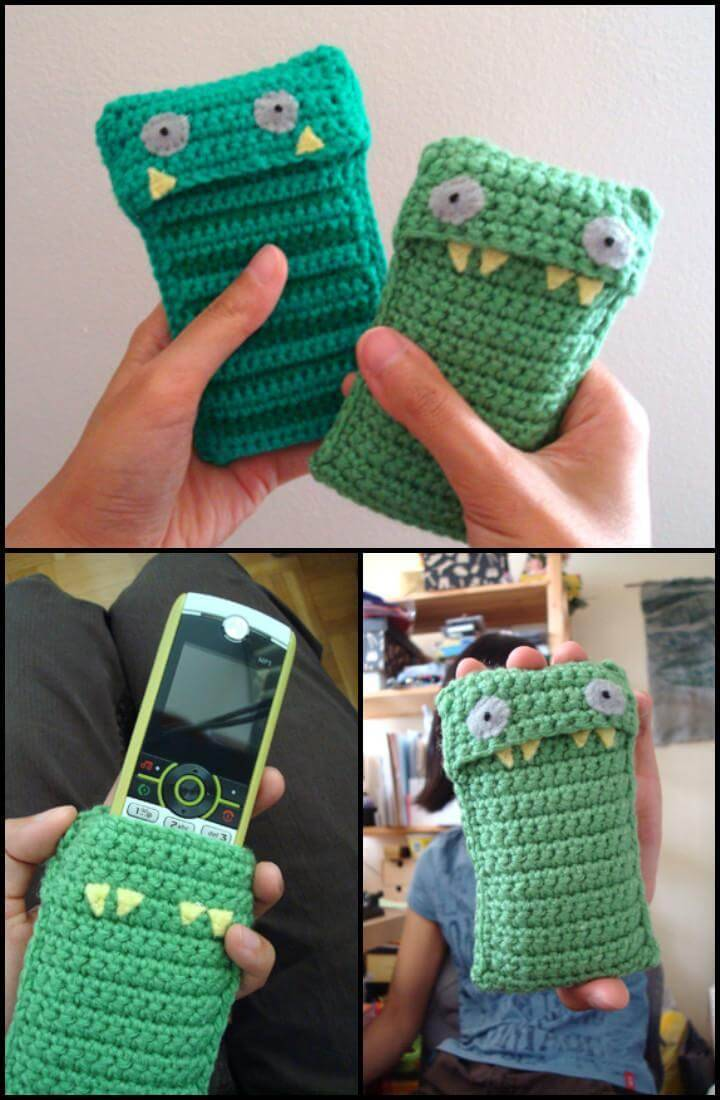 free crochet stripy jack mobile phone case pattern