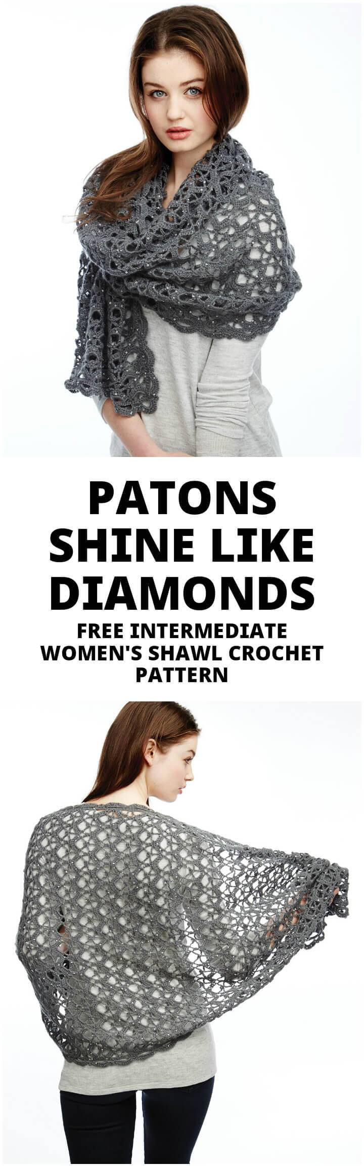 crochet patons shine like diamond shawl