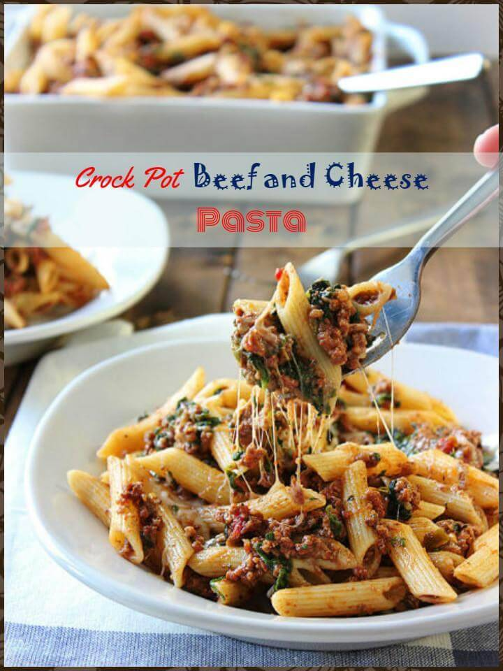 easy crock pot beef and cheesy pasta