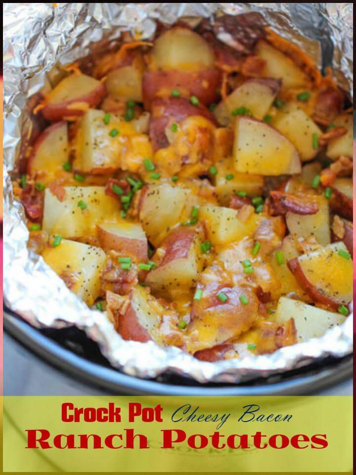 easy crock pot cheesy bacon ranch potatoes