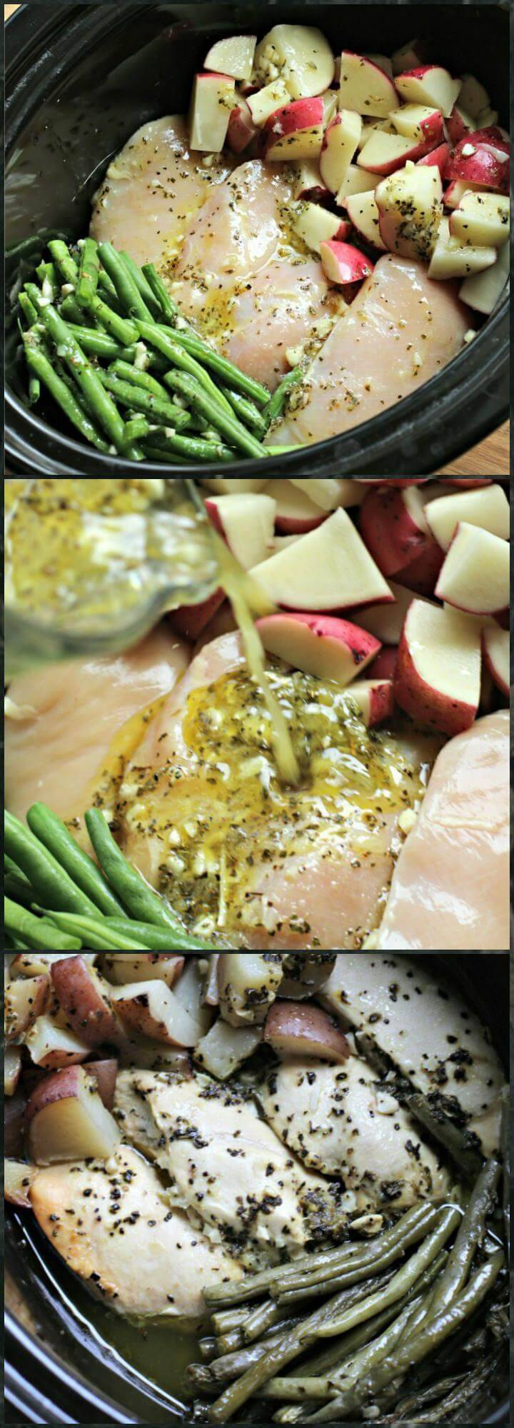 crock pot seasoned chicken potatoes and green beans