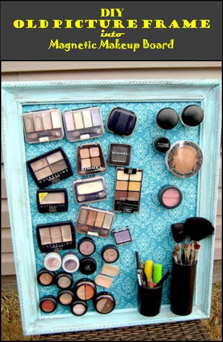 repurposed old picture frame into magnetic makeup board