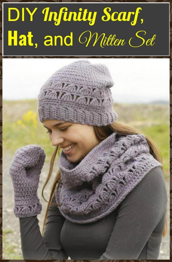 DIY winter infinity scarf, hat and mitten set
