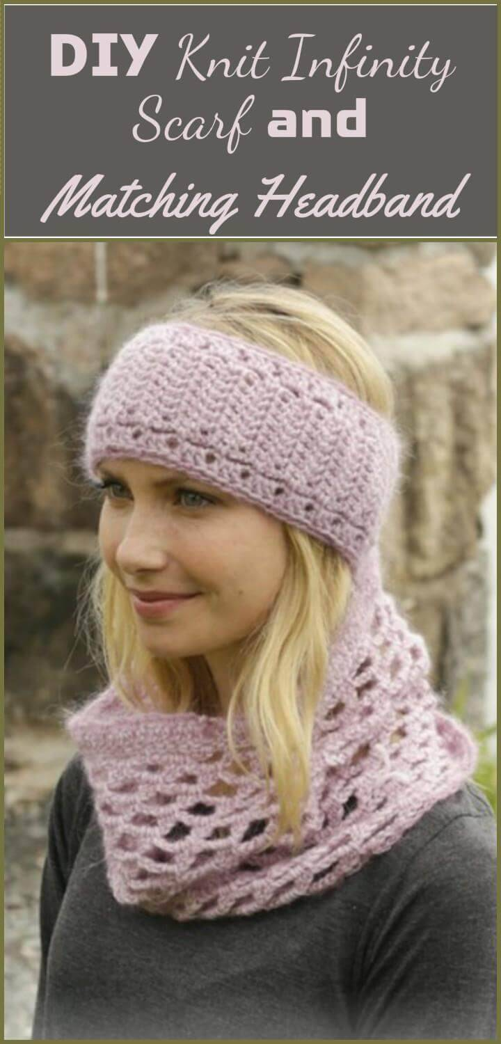 easy and cozy knit infinity scarf with matching headband