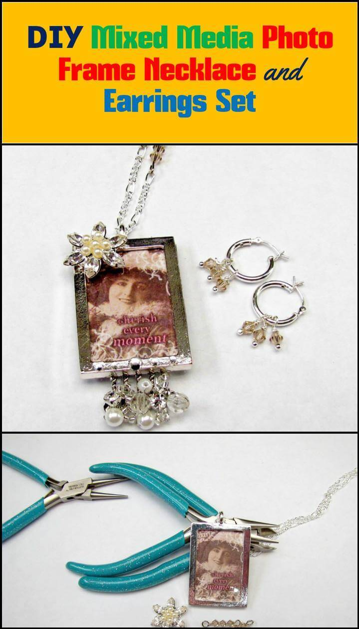 mixed media photo frame necklace and earrings