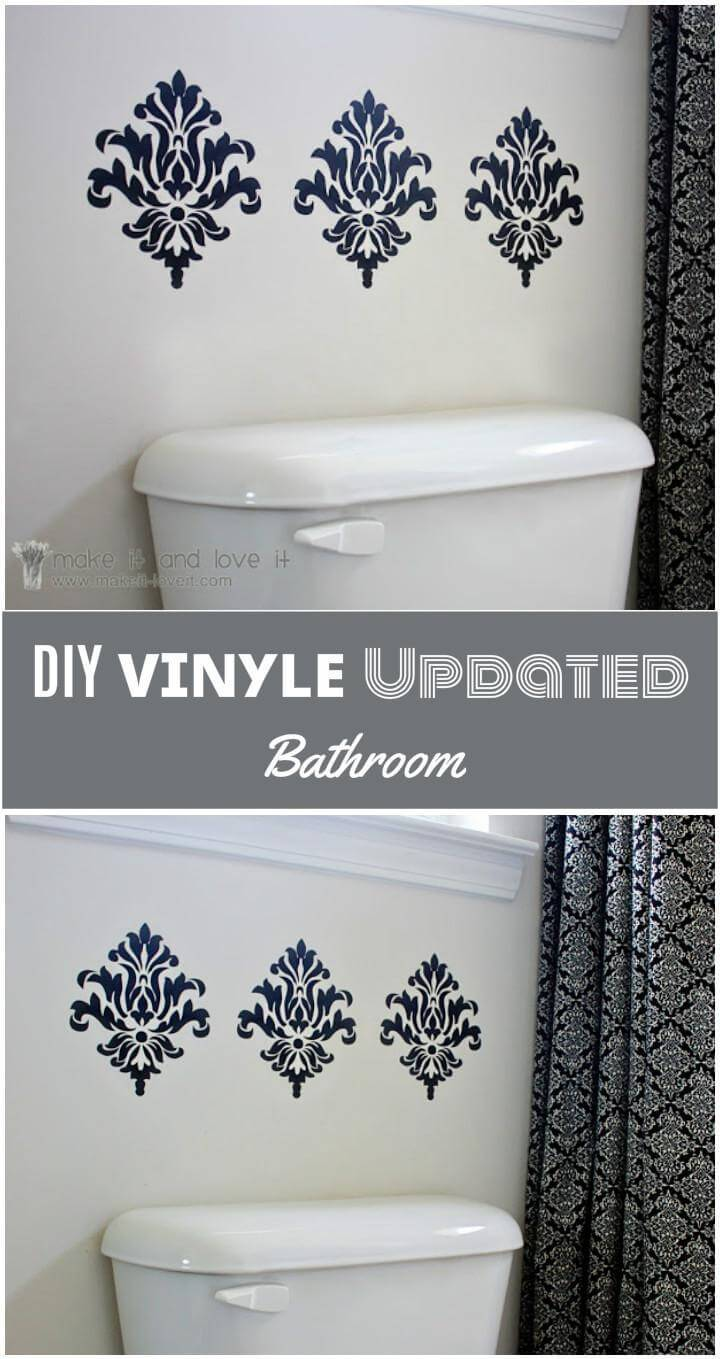 vinyl damaskus cutouts bathroom makeover