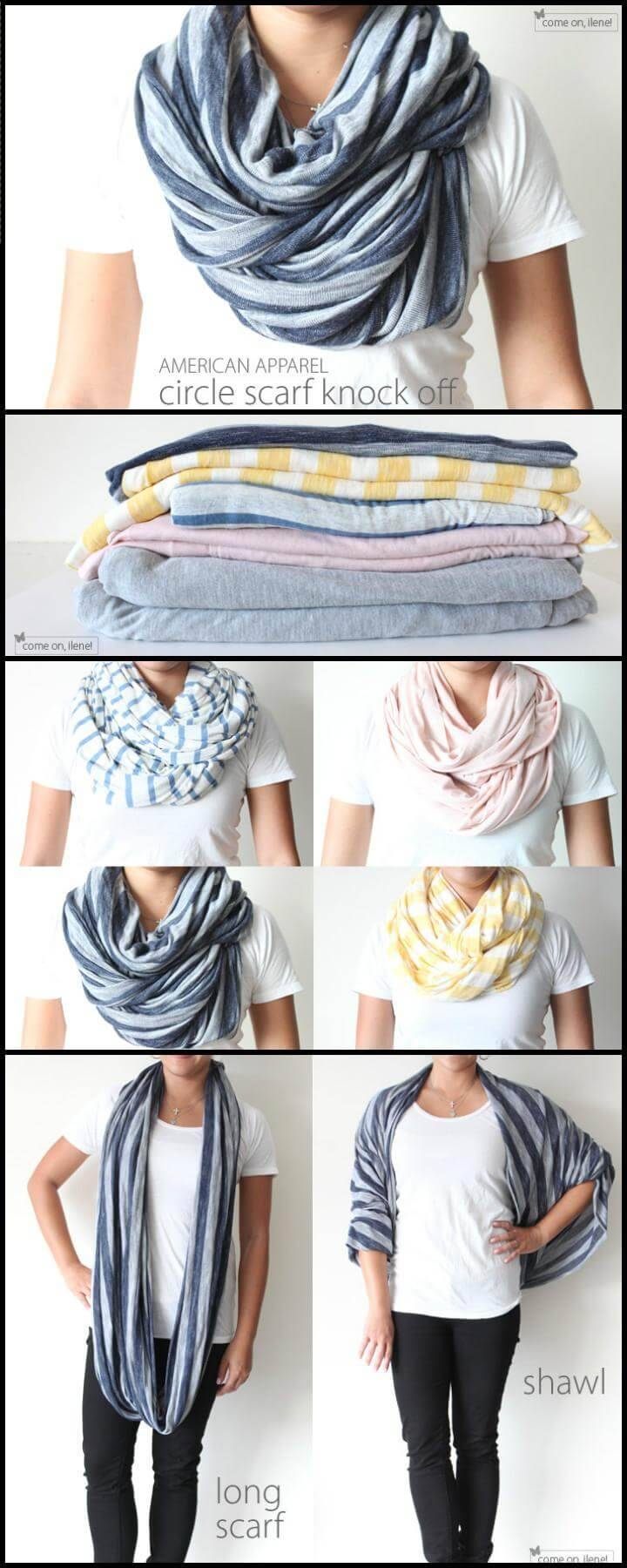 easy Amercian Apparel circle scarf knock off tutorial