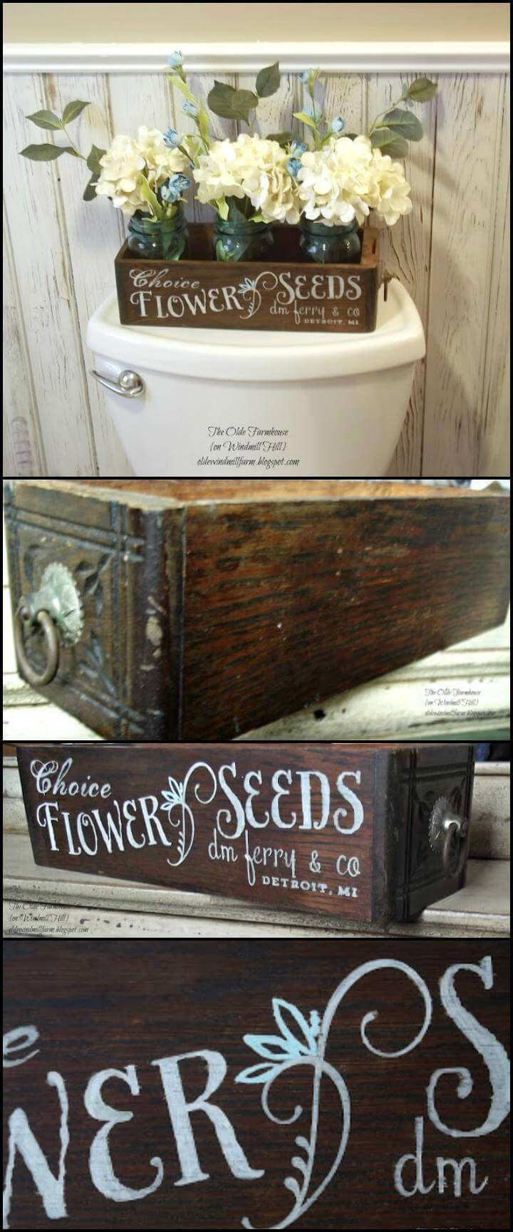 reclaimed antique drawer seed box