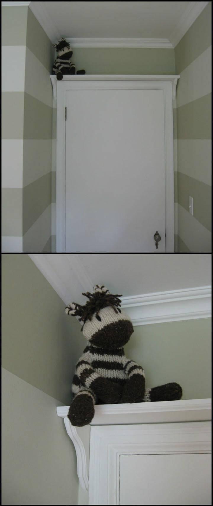 self-installed bathroom doorway shelf