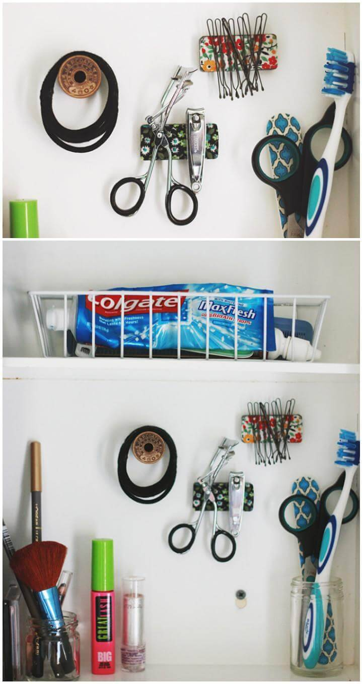 DIY bathroom medicine cabinet organization