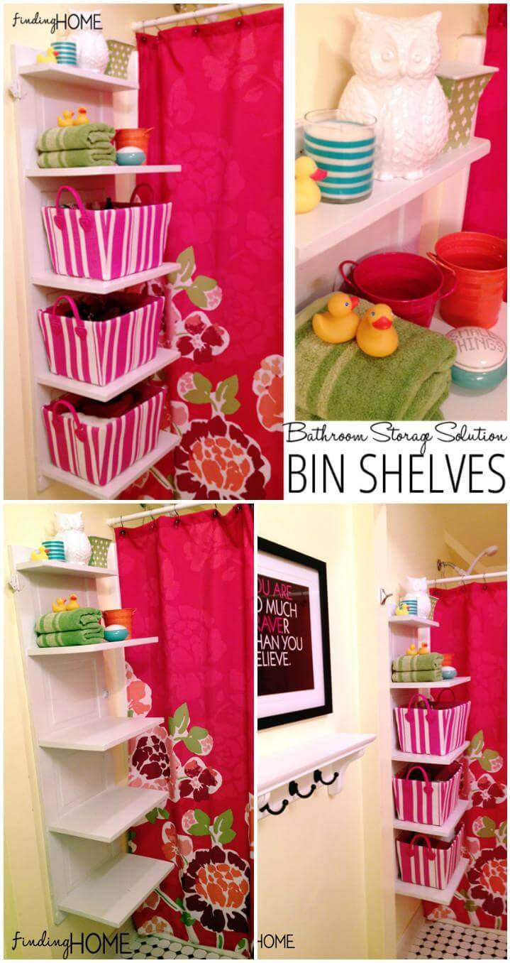 self-installed bathroom storage bin shelves