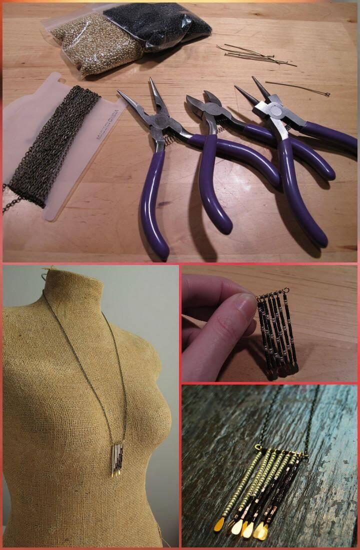 handmade beaded fringe necklace