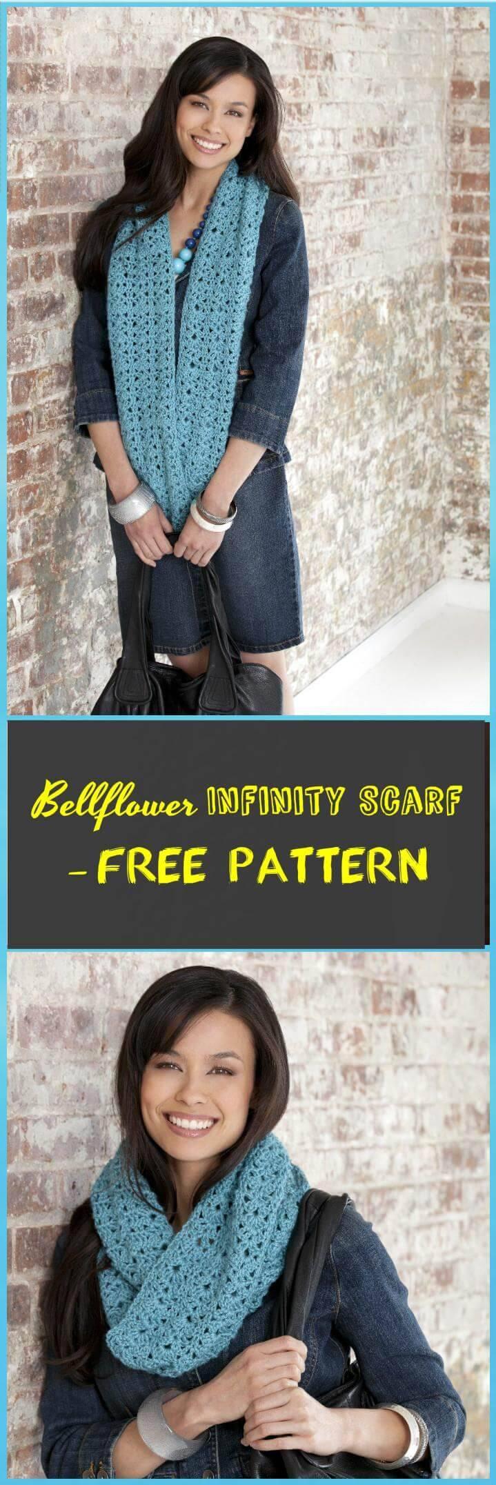 easy bellflower infinity scarf free pattern