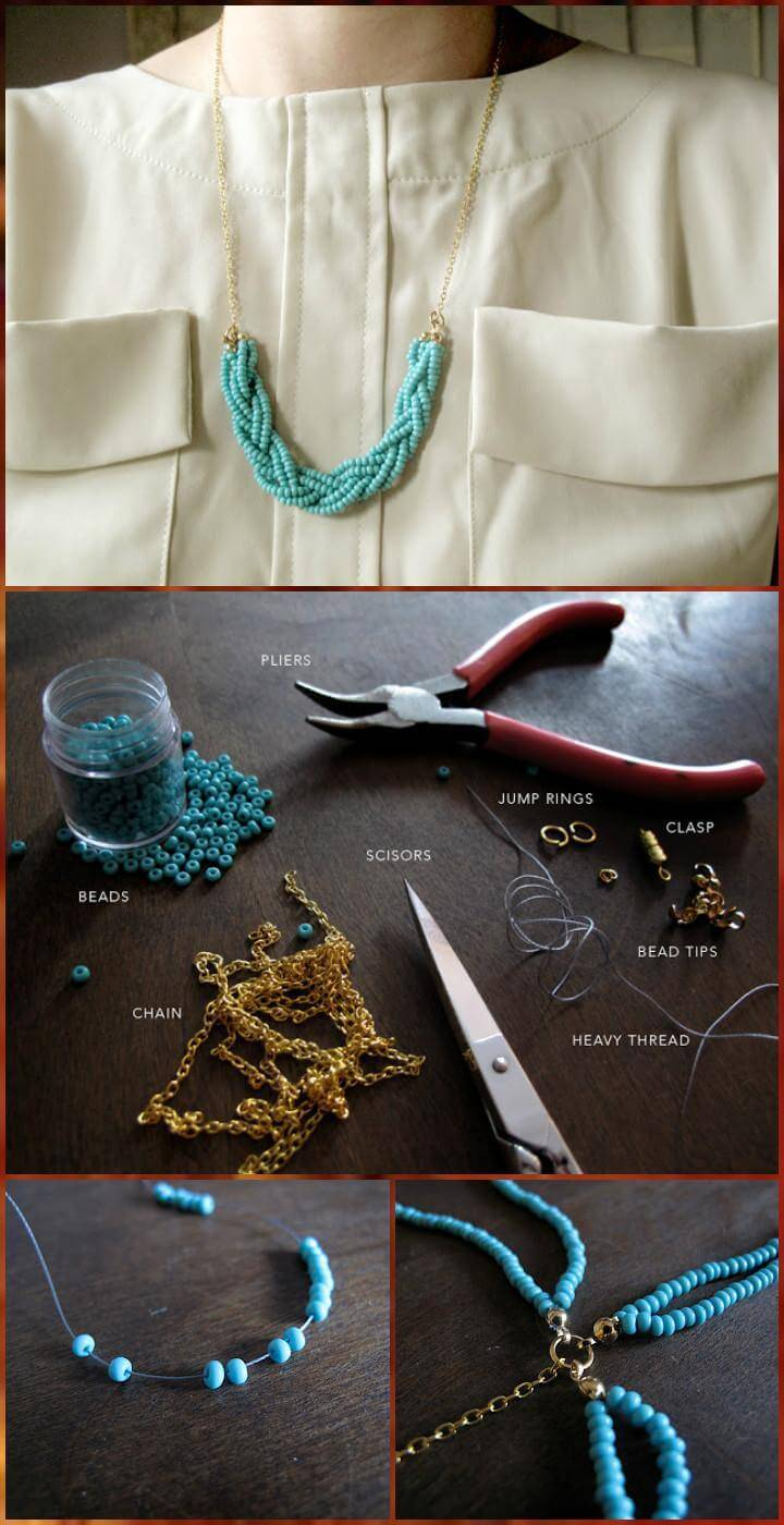 easy braided bead necklace