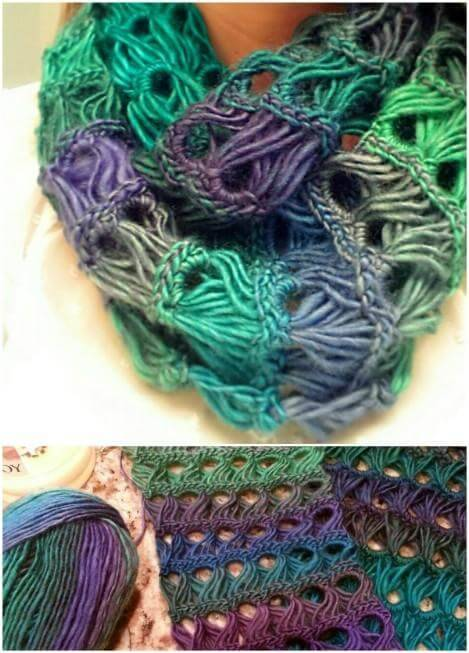 DIY broomstick lacy infinity scarf