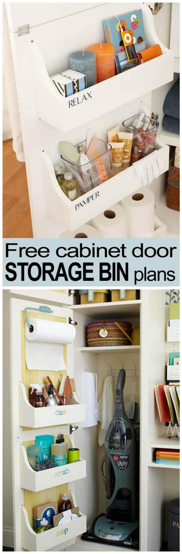 DIY cabinet door storage bin